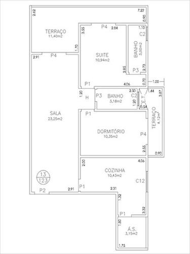 ref.: 3114 - apartamento em praia grande, no bairro aviação - 2 dormitórios