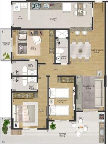ref.: 3136 - apartamento em praia grande, no bairro ocian - 3 dormitórios