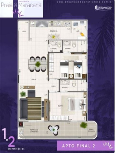 ref.: 3424 - apartamento em praia grande, no bairro mirim - 2 dormitórios
