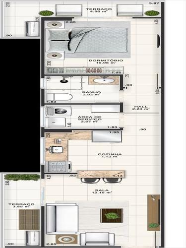 ref.: 3827 - apartamento em praia grande, no bairro guilhermina - 1 dormitórios