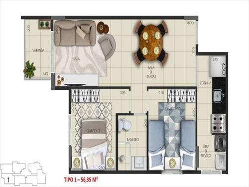 ref.: 3828 - apartamento em praia grande, no bairro mirim - 2 dormitórios