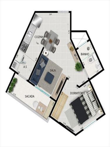 ref.: 3900 - apartamento em praia grande, no bairro tupi - 1 dormitórios