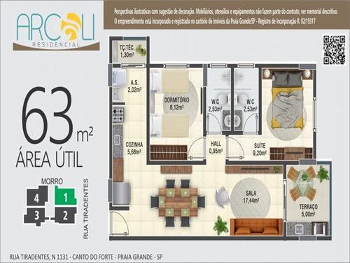 ref.: 4092 - apartamento em praia grande, no bairro canto do forte - 2 dormitórios