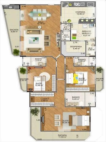 ref.: 516 - apartamento em praia grande, no bairro canto do forte - 3 dormitórios