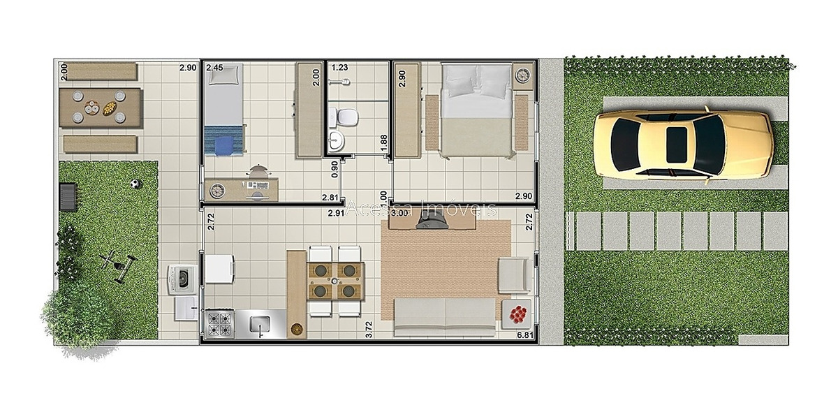 ref.: 6093 - casa 2 qtos - borboleta - 2259