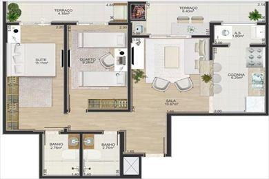 ref.: 823 - apartamento em praia grande, no bairro boqueirao - 3 dormitórios