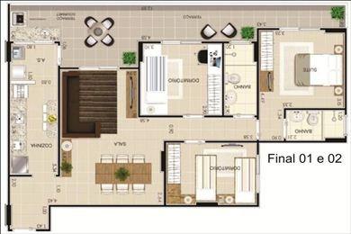 ref.: 855 - apartamento em praia grande, no bairro vila guilhermina - 3 dormitórios