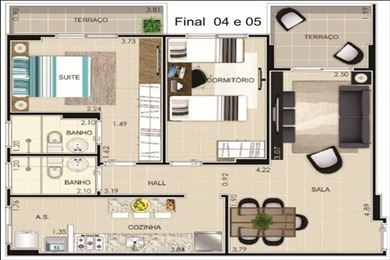 ref.: 856 - apartamento em praia grande, no bairro vila guilhermina - 2 dormitórios