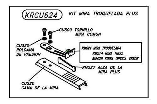 refaccion rifle kit mira troquelada plus krcu624 mendoza