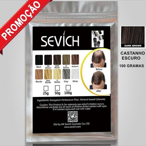 refil 100g castanho escuro sevich - fibras toppik 100 gramas