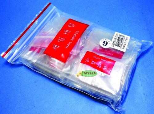 refil com 500 tips transparentes retas para acrigel numerada