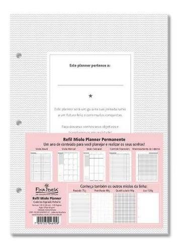 refil planner permanente - fichário argolado fina ideia