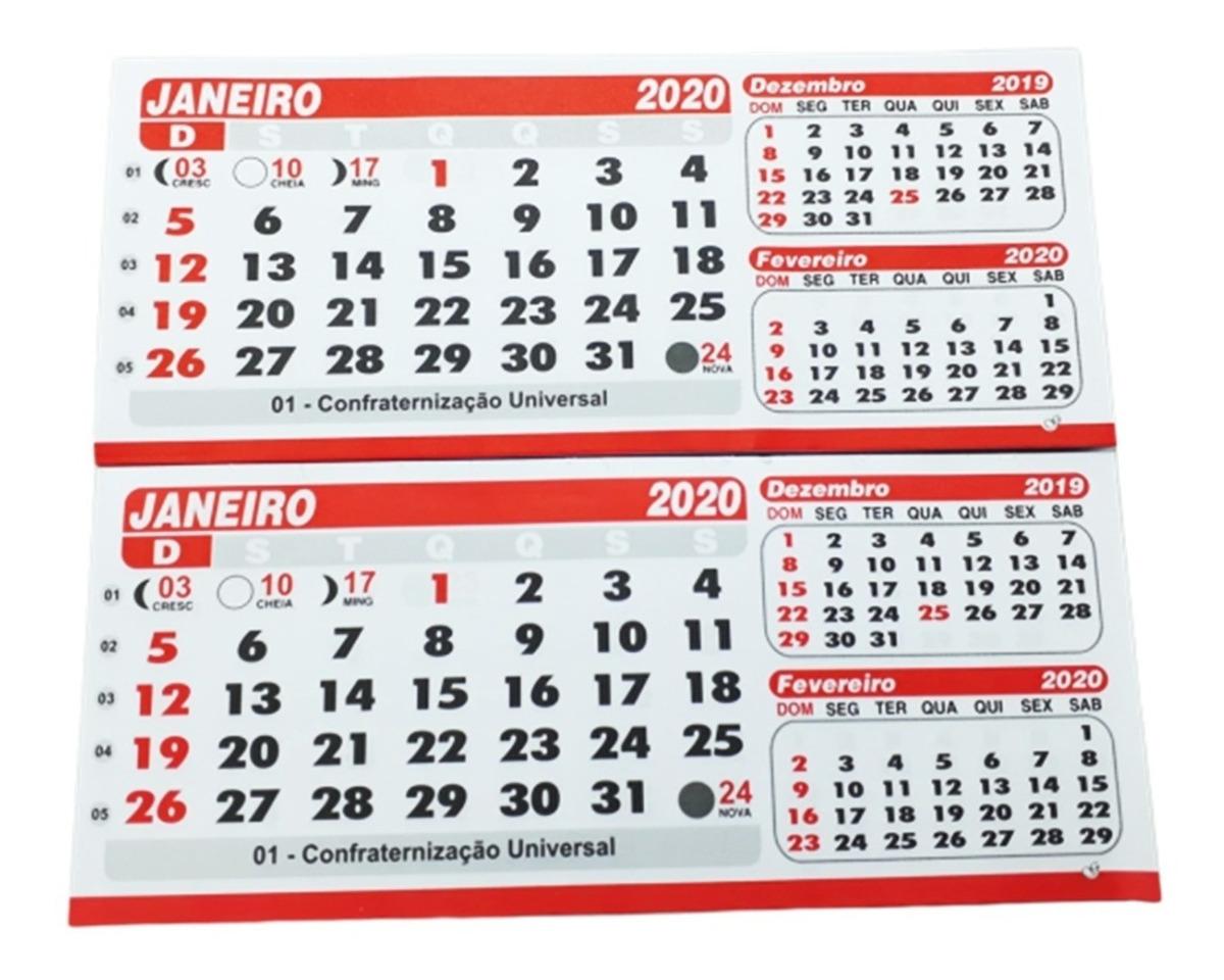 Calendario Dezembro 2019 Janeiro 2020.Refil Pvc Calendario De Mesa Bloco Grande 100 Folhinhas