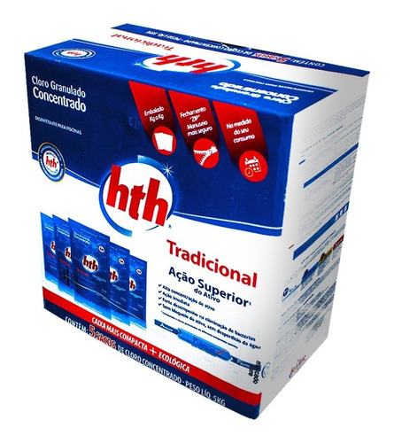 refis zip 5 unidades cloro granulado hth para piscinas 1kg