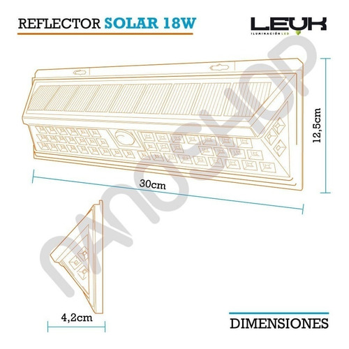 reflector 54 led solar grande ideal calle campo sensor panel