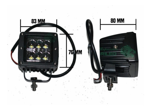 reflector 6 led 4x4 off-road 18w cuatri