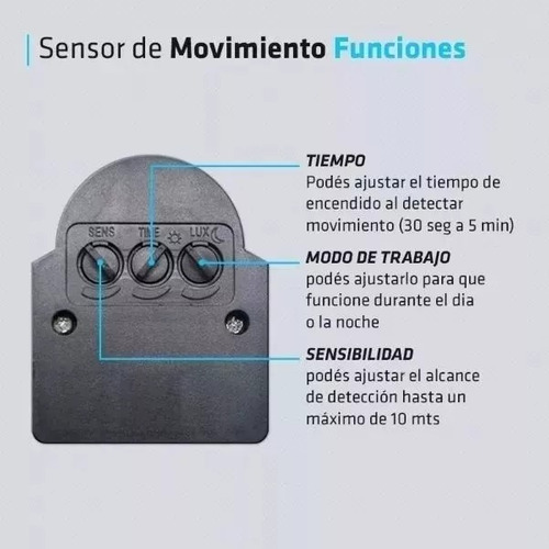 reflector led 20w sensor movimiento 220 exterior blanco frio