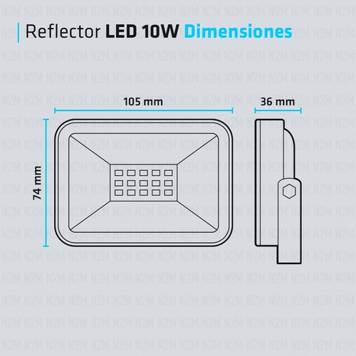 reflector led blanco 10w multiled slim bajo consumo exterior