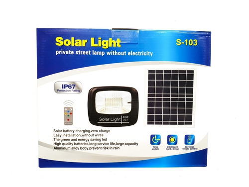 reflector led con panel solar 40w recargable ip67 s-103