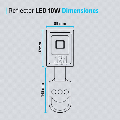 reflector led con sensor movimiento 10w blanco exterior 900l