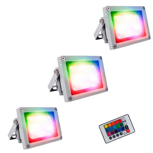 reflector led luminaria led 10 watts rgb x 3 promocion!!