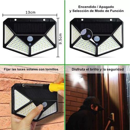 reflector led panel solar sensor movimiento 100 leds