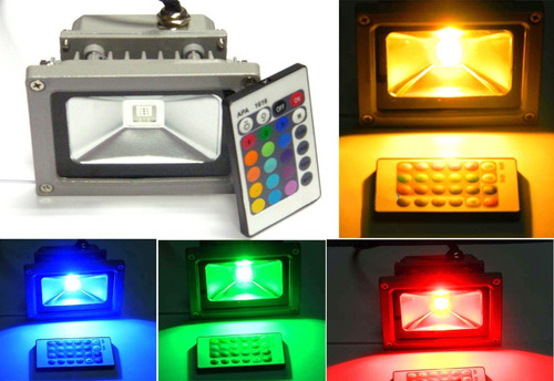 reflector led rgb 10 watts multicolor a control remoto 110v