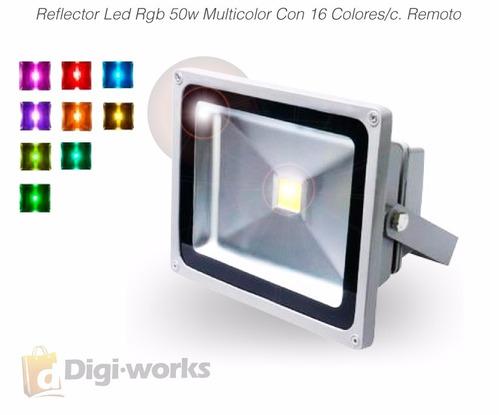 reflector led rgb 50w multicolor con 16 colores/c. remoto