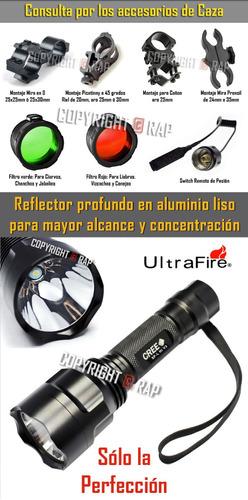 reflector linterna ultrafire c8 led cree 2300lm/ 1 modo caza