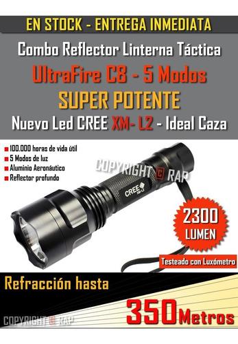 reflector linterna ultrafire c8 led cree 2300lm/ 5 modos kit