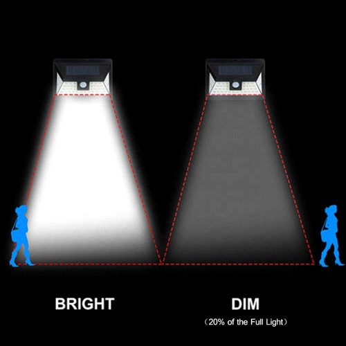 reflector luz solar 44 led sensor mov jardines garages x5 un