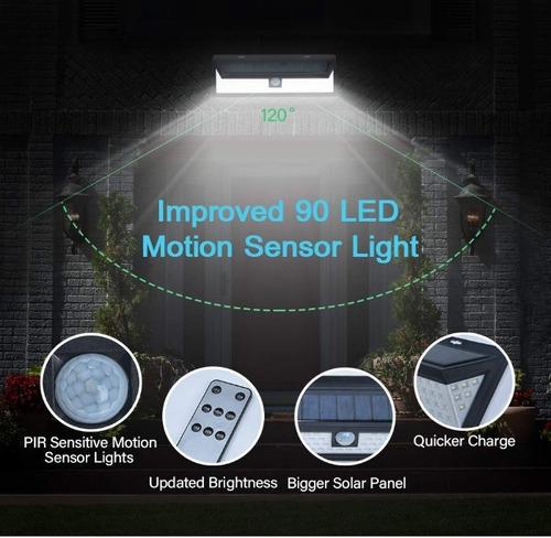 reflector luz solar 90 led sensor mov jardines garages
