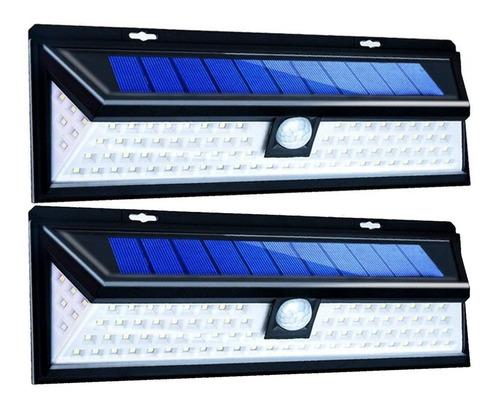 reflector luz solar 90 led sensor mov jardines garages x2 un