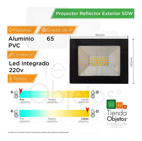 reflector proyector led 50w exterior calido frio full