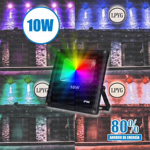 reflector rgb 10w led 220v control remoto colores exterior