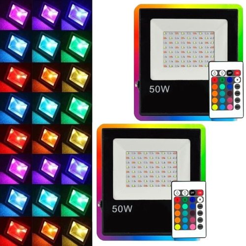 reflector rgb 50w led 220v control remoto colores exterior