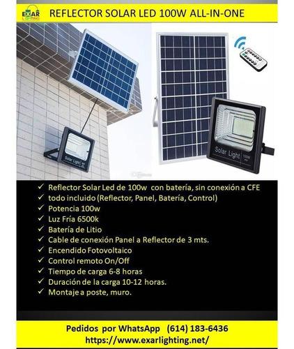 reflector solar led 100w con bateria litio
