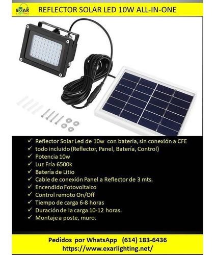 reflector solar led 10w completo con lampara bateria y panel