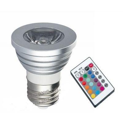 reflector/bombillo led rgb 3w e27  control multi colores