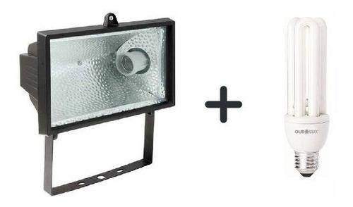 refletor com bocal e27  preto + lampada eletrônica 30w