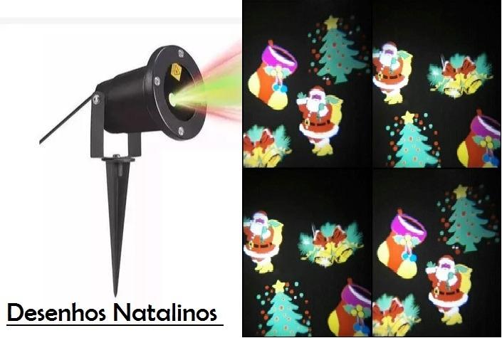 Refletor Espeto De Natal Laser Jardim Desenhos Natalinos R 169