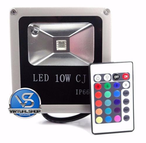 refletor holofote led rgb 10w ip65 bivolt com controle
