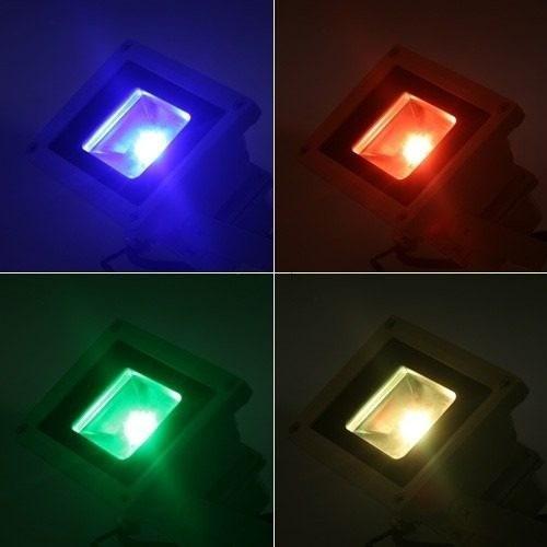 refletor holofote led rgb 50w ip65 bivolt controle 16 cores