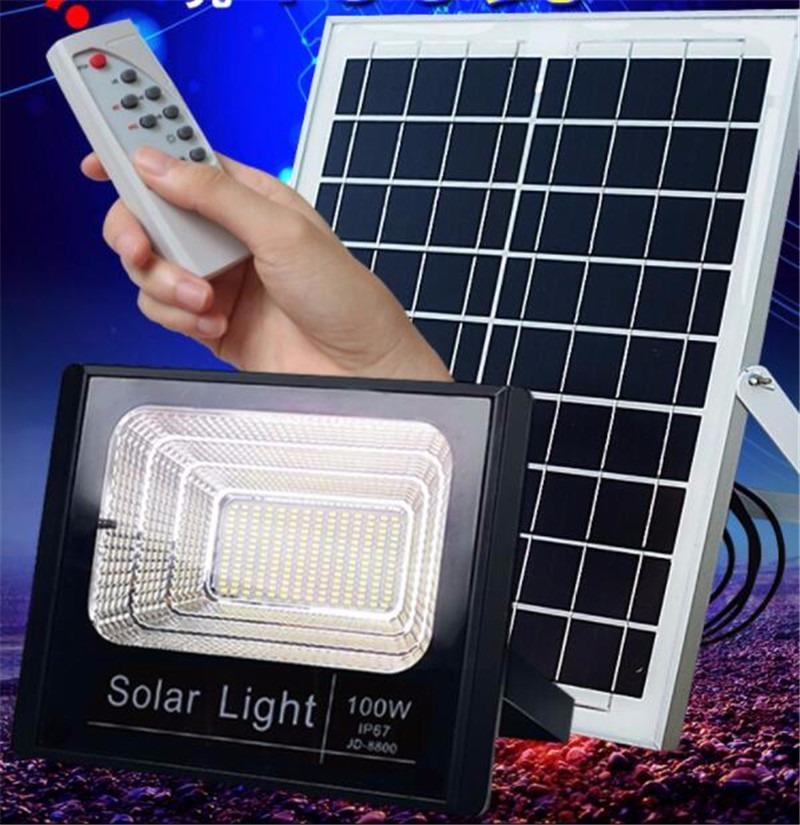 Refletor Holofote Luz De Led 100w Placa Solar Completo