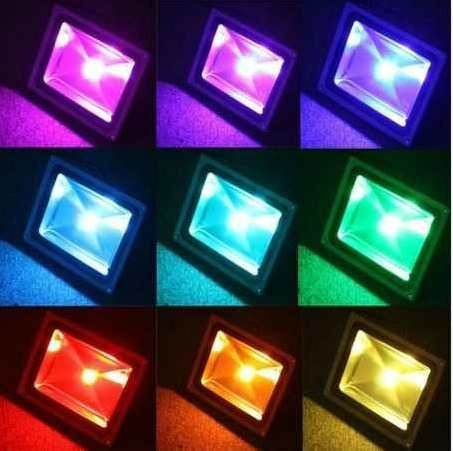 refletor holofotes luminária jardim rgb power led 30w