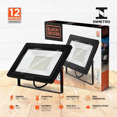 refletor led eco 100w branca ip65 100-240v - black + decker