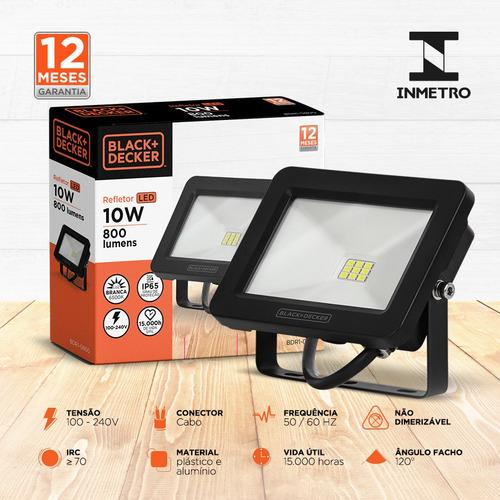 refletor led eco 10w branca ip65 100-240v - black + decker