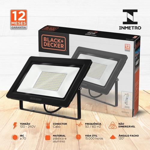 refletor led eco 150w branca ip65 100-240v - black + decker