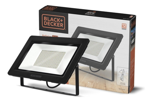 refletor led eco 200w branca ip65 - black + decker