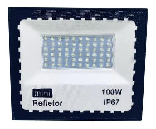 refletor led holofote 100w bivol a prova d'água branco frio